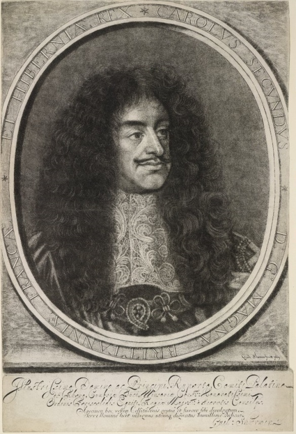 Mezzotint of Charles II by William Sherwin